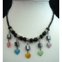 Choker Multi Colorful Heart Hanging Necklace