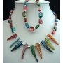 Choker & Bracelet in Multi Color Dyed Shell Necklace & Bracelet