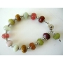 Multi Colored Bead w/ Silver Bead & Dangling Bracelet 7 Inches