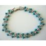 Filigree Turquoise Bead Bracelet & Cubic Zircon Bracelet 7 Inches