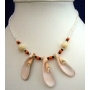 White Necklace Beaded Necklace w/ 3 Sea Shell Choker