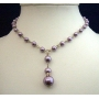 Choker Cultured Purple Pearls Drop Down Necklace
