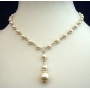 Cream Cultured Pearls Choker Cream Pearls Necklace w/ Drop Down