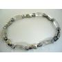 Filgree Bracelet Opal White Glass Bead w/ Cubic Zirconia Bracelet