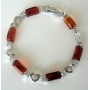 Brown Glass Filgree Bracelet Shinning Bead w/ Cubic Zirconia Bracelet