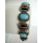 Bracelet Simulated Turquoise Stone & Red Coral Bead Oxidized Bracelet