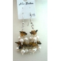 Tiger Eye Stone Chip & Freshwater Pearl Glass Beads Dangling Earrings