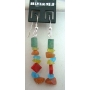 Handcrafted Multi Colored Stone Chip Sterling Silver 92.5 Earrings