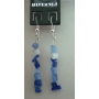 Trendy Earrings Sterling Silver w/ Sapphire & Opal Stone Chip & Nugget