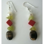 Freshwater Pearl Apple Jade Stone Coral Bead Tiger Eye Silver Earrings