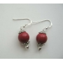 8mm Coral Bead Earrings Sterling Silver Coral Bead Stone Bead Earrings