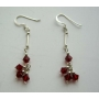 Siam Red Crystals Sterling Silver Earrings Swarovski Crystals Earrings