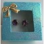Dark Amethyst Cubic Zircon 8mm Stud Earrings w/ Gift Box Packing
