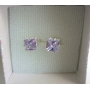 Lavender Earrings 8mm Lavender Cubic Zircon Prince Cut Stud Earrings