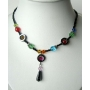 Choker Necklace Simulated Multi Crystals Colorful w/ TearDrop Necklace