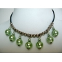 Green Cultured Pearls Choker w/ Silver Beads Necklace