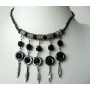 Cultured Pearls Black Knitted Thread w/ Hanging Black Pearls Necklace