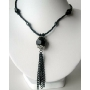 Choker Black Beaded Necklaces Simulated Crystals w/ Tassel Necklace