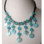 Blue Choker Peral & Shell Cultured Pearls w/ Dangling Shell Necklace