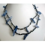 Two Strands Necklace Black Corded w/ Shells Dangling Choker