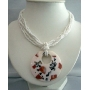 Round Resin Shell Pendant White Necklace Multi Strands Necklace