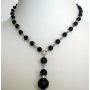 Black Dangling Synthetic Pearl Necklace Choker w/ Drop Down Necklace