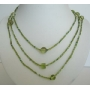 Long Necklace Peridot Beaded Chain Beaded Necklace