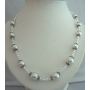 White Color Cultured White Pearl 20 Inches Long Necklace w/ Bali Metal