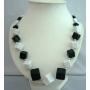 Black & White Beaded Long Necklace 28 inches Stunning Necklace