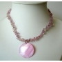 Pink Shell Necklace w/ Shell Round Pendant & Shell Nugget