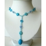 Blue Y Neck Beaded Simulated Crystal Turquoise Beads Necklace Jewelry