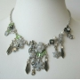 Vintage Enamel White Flower Pearls Necklace
