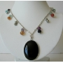 Multi Colored Simulated Crystal Onyx Pendant Necklace 20 Inches