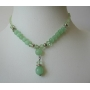 Green Beads & Simulated Erinite Crystal Choker & Drop Down Necklace