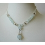 White Beaded Necklace w/ Simulated Crystals Choker Drop Down