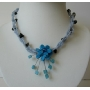 Necklace Beaded Choker w/ Turquoise Color Flower Blue Nugget Necklace