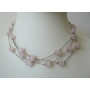 Multi Strands Pink Faceted Beads Necklace Glass Beads Choker