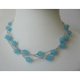 Blue Faceted Beads Multi strands Choker Glass Beads Necklace