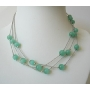 Multi strands Green Glass Faceted Beads Necklace