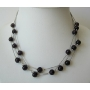 Black Faceted Beads Choker Multi Strands Beads Necklace