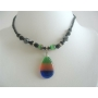 Teardrop Pendant Choker Tri Color Cat Eye Pendant Necklace Choker