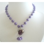 Synthetic Purple Pearl w/ Heart Pendant Choker Dangling Necklace