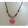 Cat Eye Pink Heart Pendant Necklace Black Beaded Choker Necklace