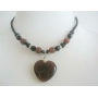 Brown Heart Pendant Brown Cat Eye Heart Black Beaded Choker Necklace