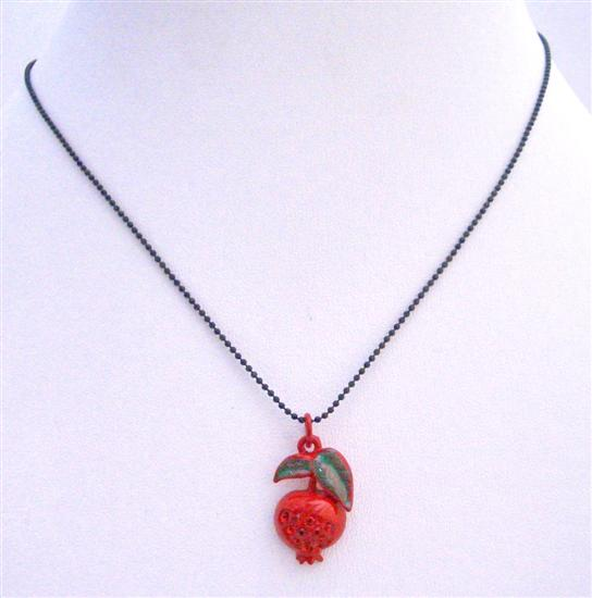 FashionJewelryForEveryone.com UNE209 Red Apple Pendant Black Beaded Necklace at Sears.com